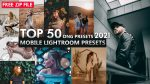 Download Free Top 50 Mobile Lightroom Presets of 2021 | Top 50 DNG Presets of 2021 for Free | Top 50 Lightroom Mobile Preset Pack of 2021